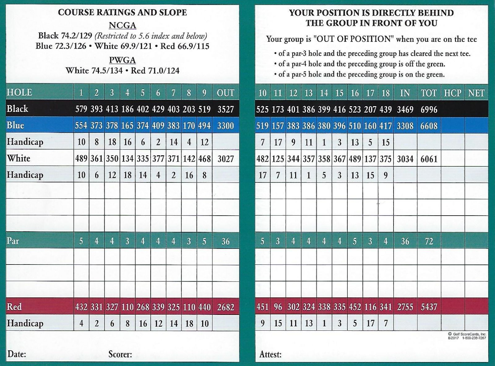 Shoreline Golf Links scorecard