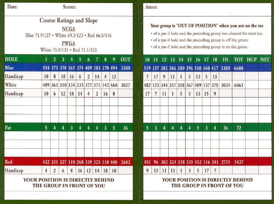Mountain View Golf Scorecard